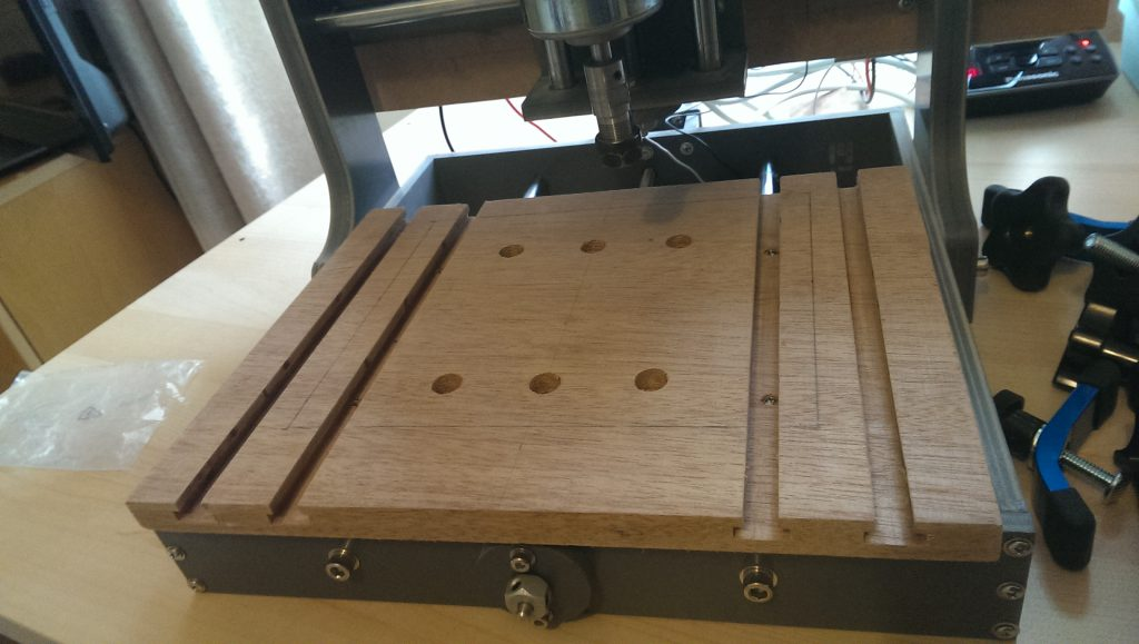 Table screwed to the CNC machine.
