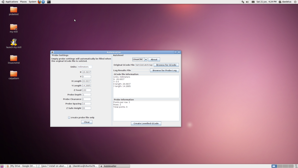 Ubuntu 10.04 desktop with AutoLeveller running